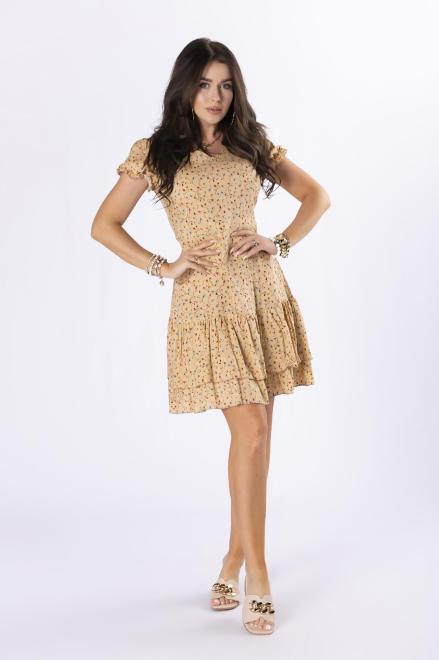 MILLAU  sukienka mini z falbankami M84612 Платье Бежевый оптом