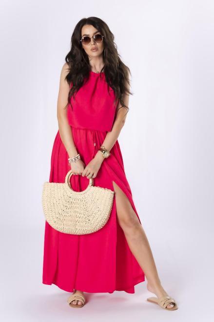 OOH LA LA  sukienka maxi na ramiączkach M84622 Платье Розовый оптом