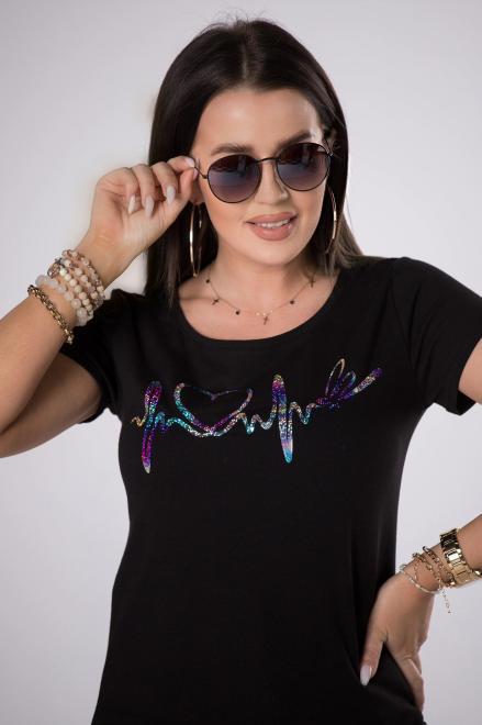 BARI  t-shirt z błyszczącym printem M84695 Блузка Черный оптом