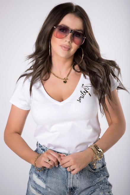 BARI  t-shirt z dekoltem V M84693 Блузка Белый оптом
