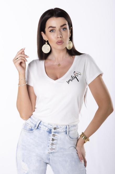 BARI  t-shirt z dekoltem V M84693 Блузка Кремовый оптом