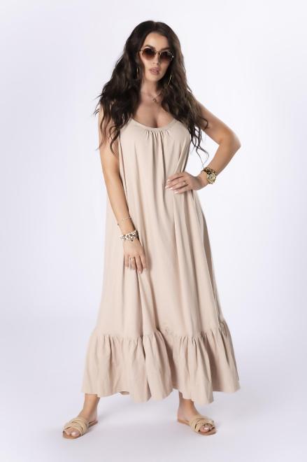 OOH LA LA  sukienka na ramiączkach M84076 Платье Бежевый оптом
