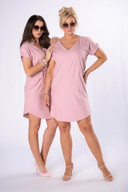 LEIN  sukienka z wiązaniem M84728 Платье Розовый оптом