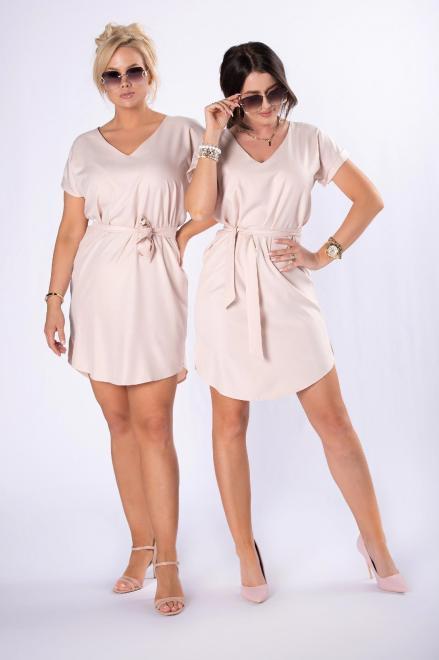 LEIN  sukienka z wiązaniem M84728 Платье Бежевый оптом