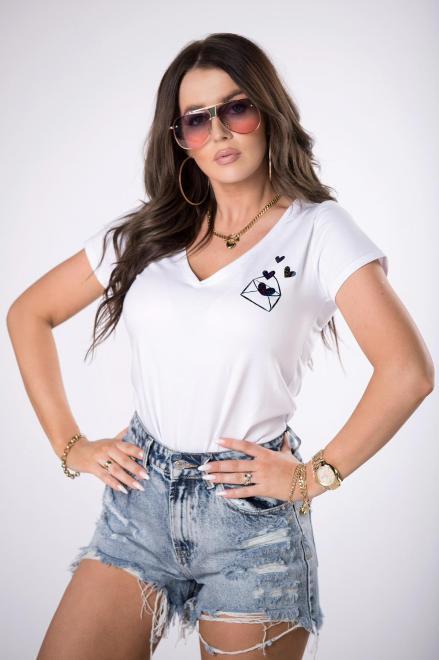 BARI  t-shirt z dekoltem V M84718 Блузка Белый оптом