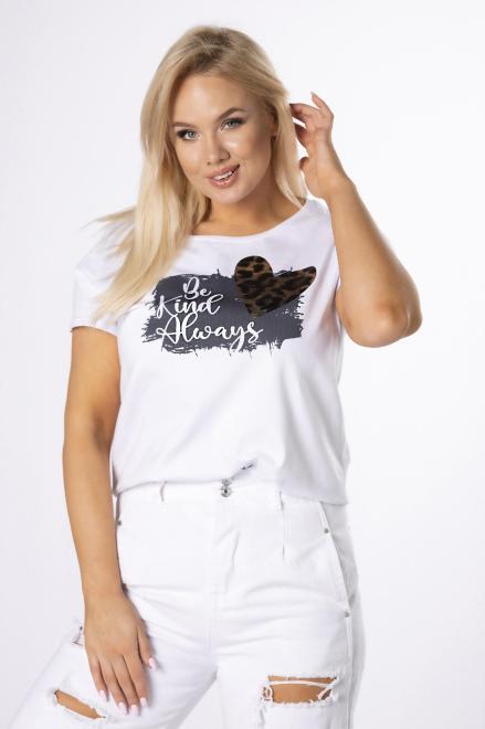 BARI  t-shirt z printem M84717 Блузка Белый оптом