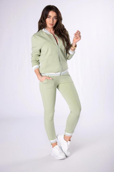 STELLA VERA  dres z brokatową lamówką M84678 Трикотажные брюки Зеленый оптом