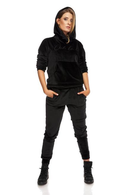 OOH LA LA  welurowy dres z wyszywanym napisem M81894 Трикотажные брюки Черный оптом