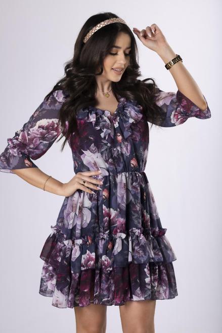 KAJA  szyfonowa sukienka z falbanami M84151 Платье Multikolor оптом