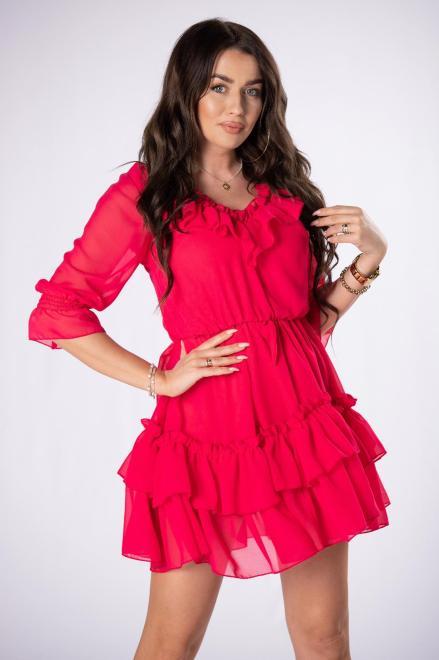 KAJA  szyfonowa sukienka z falbanami M84151 Платье Розовый оптом