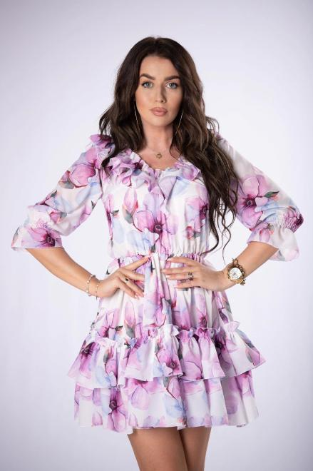 KAJA  szyfonowa sukienka z falbanami M84151 Платье Кремовый оптом