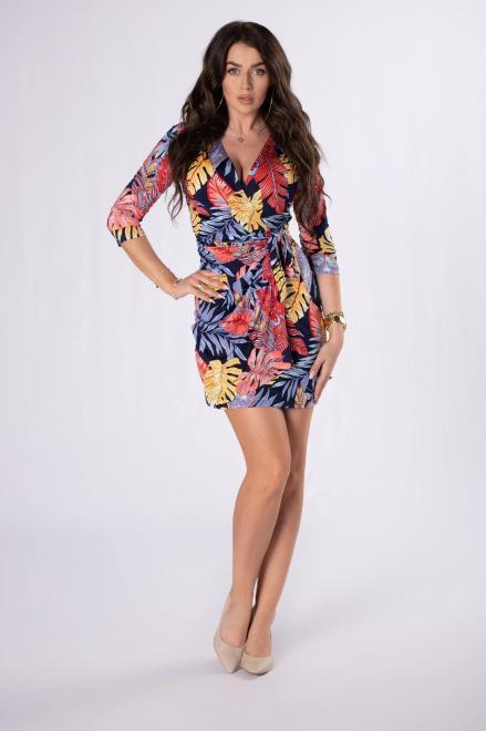 STELLA VERA  kopertowa sukienka z printem M84676 Платье Multikolor оптом