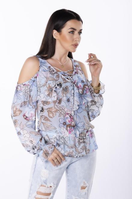 STELLA VERA  szyfonowa bluzka z rozcięciami na ramionach M84754 Блузка Голубой оптом