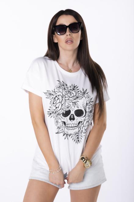 STELLA VERA  t-shirt z printem M84753 Блузка Белый оптом