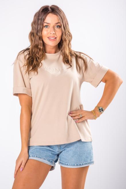 OOH LA LA   t-shirt z wyszywanym napisem M80494 Блузка Бежевый оптом