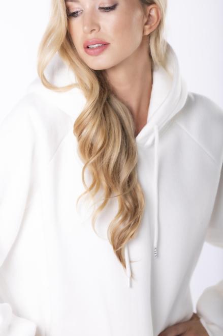 EX MODA  bluza oversize z kapturem M84971 Блуза Кремовый оптом