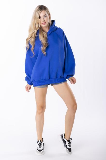 EX MODA  bluza oversize z kapturem M84971 Блуза Голубой оптом