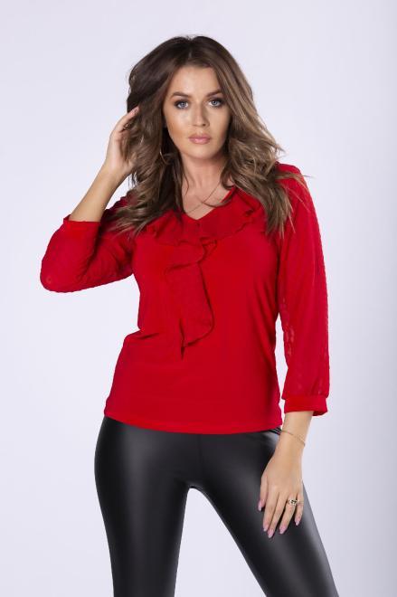 MARPO  bluzka z żabotem M76148 Блузка Красный оптом
