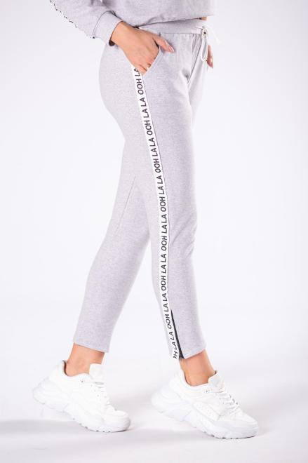 OOH LA LA  dresowe spodnie z logowanymi lampasami  M80523 Брюки Серый оптом