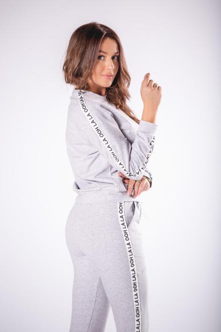OOH LA LA  bawełniana bluza z lampasami M78806 Блуза Серый оптом