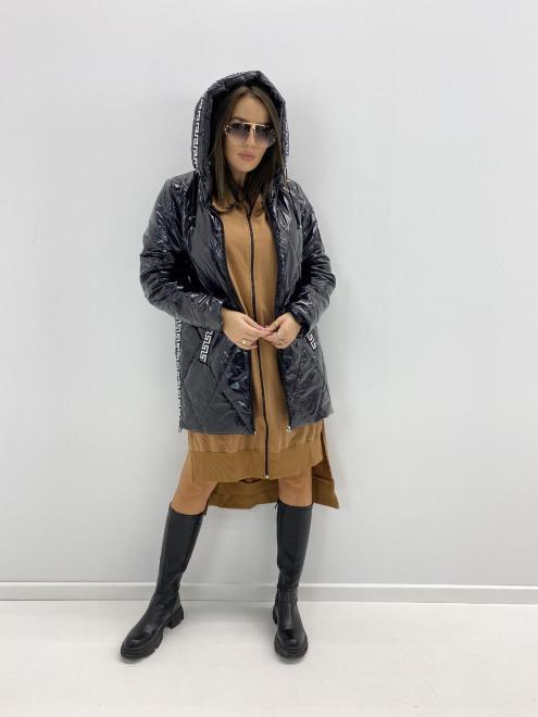 HOLI  pikowana kurtka z lampasami M85334 Куртка черный оптом