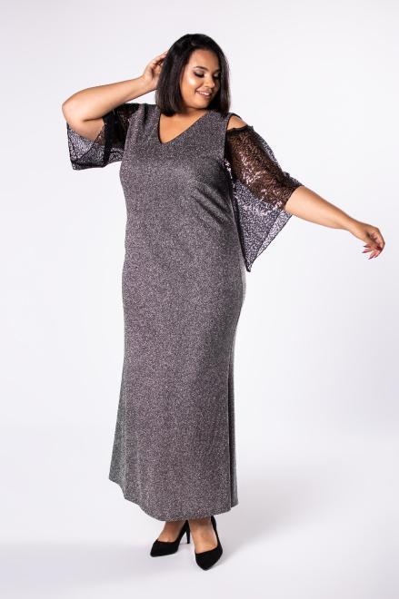 INTER IREX  brokatowa sukienka maxi z rozcięciami na ramionach i tiulowymi rękawami M81780 Платья +Size Черный оптом