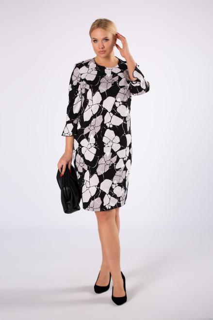 BRENDA  elegancka sukienka o dopasowanym kroju z falbanami przy rękawach M81501 Платья +Size Черный оптом