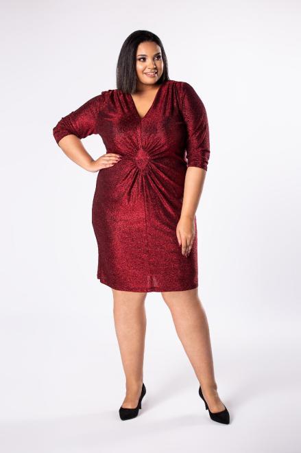 INTER IREX  dopasowana sukienka z marszczeniem w pasie oraz wiązaniem na plecach M73989 Платья +Size Красный оптом
