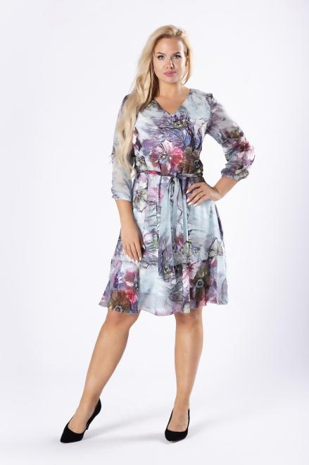 WESLEY  tiulowa sukienka z rozkloszowanym dołem i wiązaniem w pasie M78120 Платья +Size Multikolor оптом