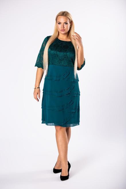 MODUSS  dopasowana sukienka z koronkową górą i tiulowymi falbankami na dole M81865 Платья +Size Зеленый оптом