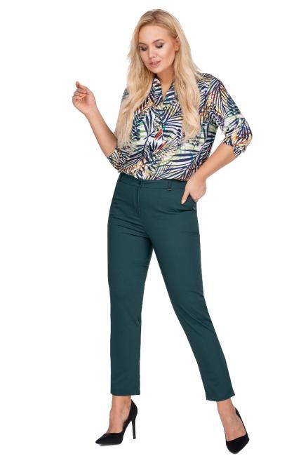 OLA FASHION  eleganckie spodnie z nogawkami 7/8 M77815 Брюки +Size Зеленый оптом