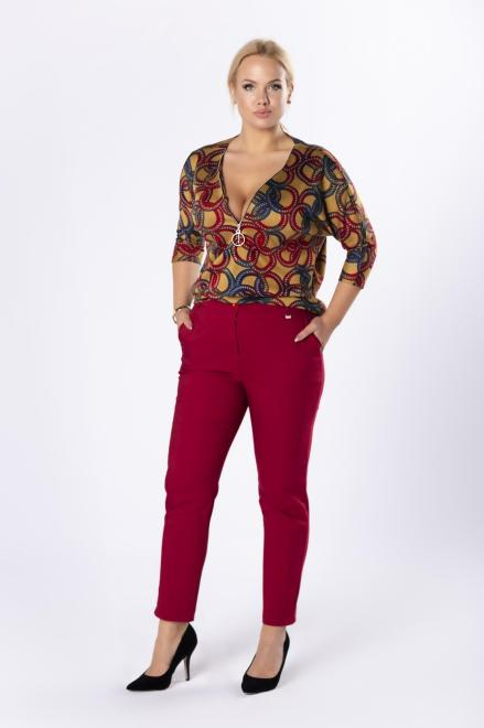 OLA FASHION  eleganckie spodnie z nogawkami 7/8 M77815 Брюки +Size Бордовый оптом