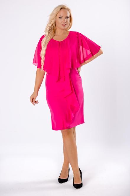 ROXANA  sukienka z tiulową narzutką i falbanami M81636 Платья +Size Розовый оптом