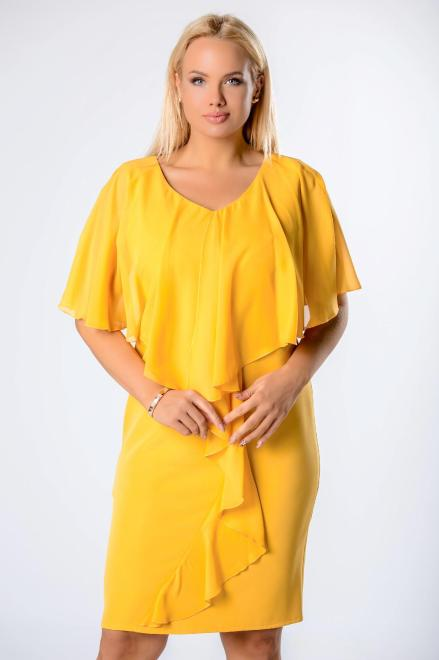 ROXANA  sukienka z tiulową narzutką i falbanami M81636 Платья +Size Желтый оптом