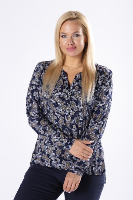 MADAM TRIS  bluzka o koszulowym kroju z guzikami na biuście M81231 Блузки +Size Темносиний оптом