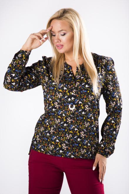 MADAM TRIS  bluzka o koszulowym kroju z guzikami na biuście M81231 Блузки +Size Черный оптом
