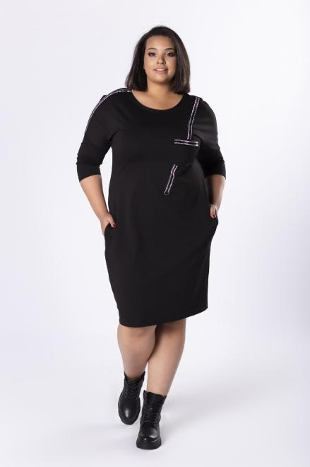 MADAM TRIS  dzianinowa sukienka z błyszczącymi lampasami M81682 Платья +Size Черный оптом
