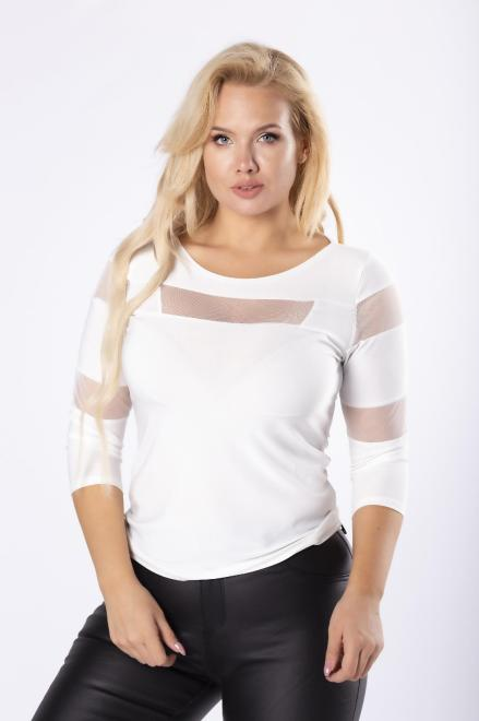 WAXIMA  dzianinowa bluzka z tiulowymi wstawkami na rękawach i dekolcie M81684 Блузки +Size Кремовый оптом