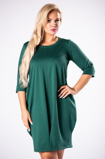 ROXANA  dzianinowa sukienka z ozdobnym marszczeniem z przodu M81632 Платья +Size Зеленый оптом