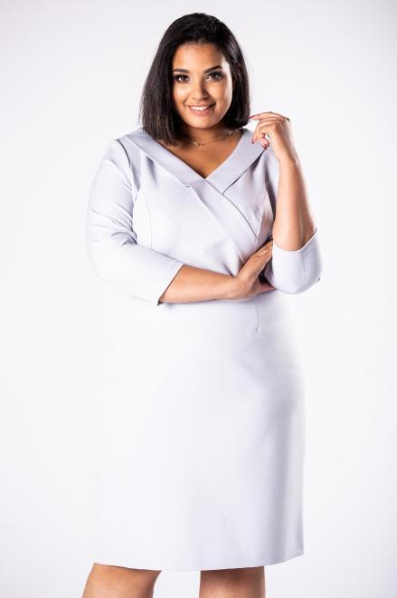 INTER IREX  dopasowana sukienka z żakietową zakładką przy dekolcie M74208 Платья +Size Серый оптом