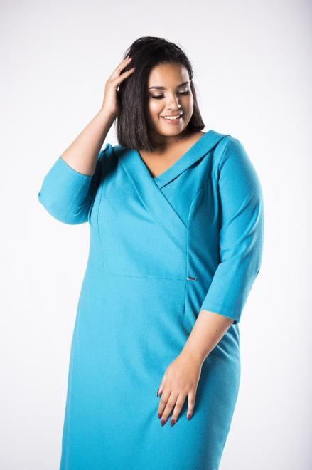 INTER IREX  dopasowana sukienka z żakietową zakładką przy dekolcie M74208 Платья +Size Зеленый оптом