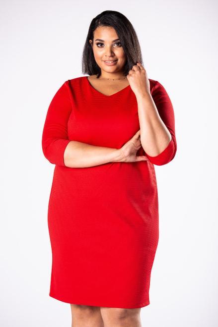 EXCLUSIVE  dopasowana sukienka we wzory z dekoltem w serek i tłoczoną fakturą M81633 Платья +Size Красный оптом