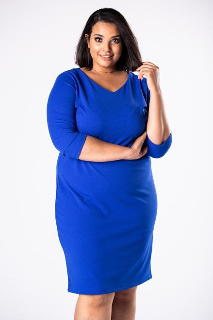 EXCLUSIVE  dopasowana sukienka we wzory z dekoltem w serek i tłoczoną fakturą M81633 Платья +Size Голубой оптом