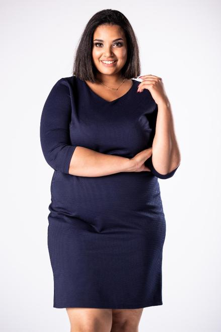 EXCLUSIVE  dopasowana sukienka we wzory z dekoltem w serek i tłoczoną fakturą M81633 Платья +Size Темносиний оптом