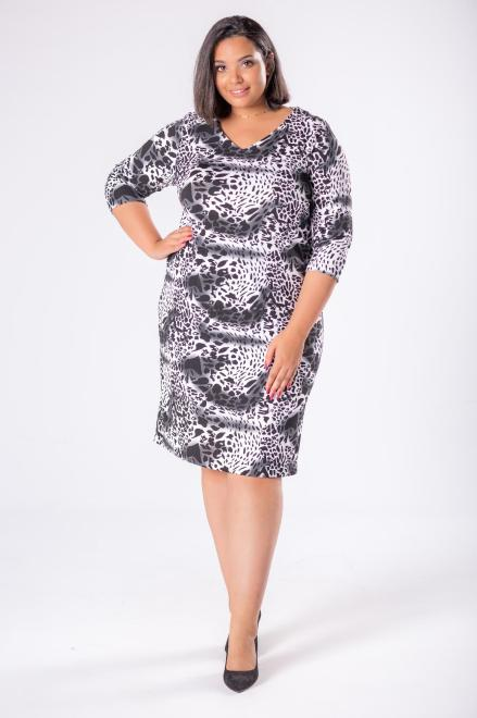 EXCLUSIVE  dopasowana sukienka z dekoltem w serek M81634 Платья +Size Multikolor оптом