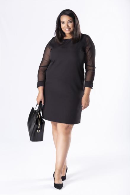 M&M  dopasowana sukienka z tiulowymi rękawami M81157 Платья +Size Черный оптом