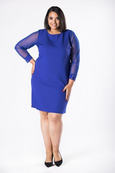 M&M  dopasowana sukienka z tiulowymi rękawami M81157 Платья +Size Голубой оптом