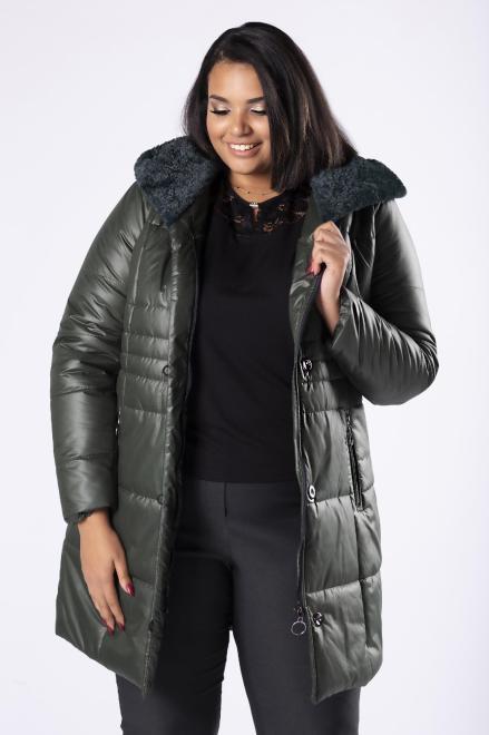 MIDAN II  pikowana kurtka z ozdobnym futerkiem na kapturze M81384 Куртка +Size Зеленый оптом