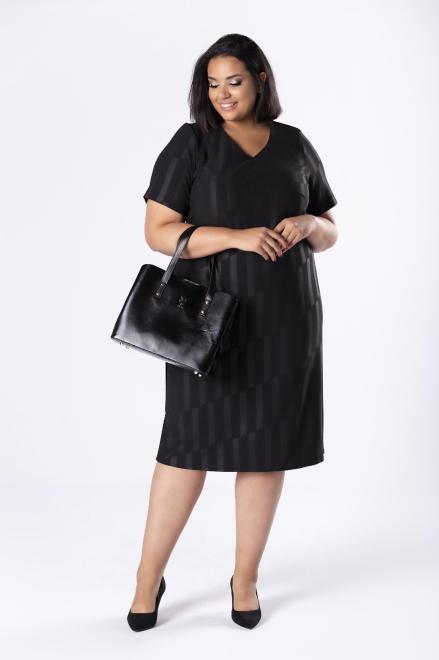 LOTO  dopasowana sukienka z delikatnym połyskiem M80569 Платья +Size Черный оптом