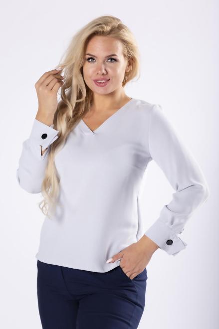 OPAL  elegancka bluzka z dekoltem w serek, ozdobnymi mankietami i lampasem na plecach M81565 Блузки +Size Серый оптом